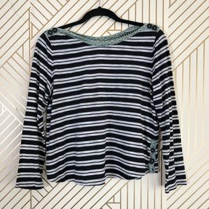 Postcard women's MP striped with floral blouse